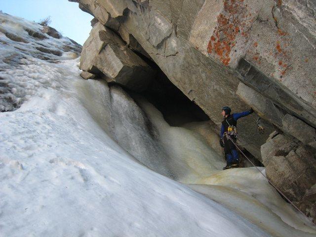 Rock Climbing Photo: First belay on Cocoa Puffs (also rap anchor:  slin...