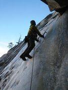 Rock Climbing Photo: Cocoa Puffs ice climbing:  up the corner.  Photo b...