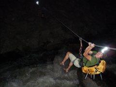 Rock Climbing Photo: Dan Dalton making the Tyrol back across Boulder Cr...