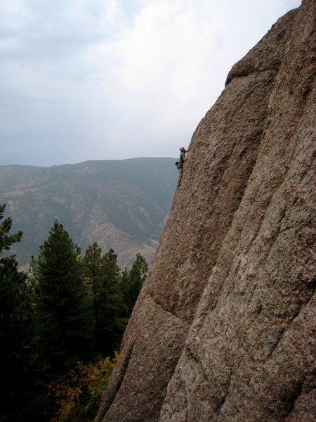 Rock Climbing Photo: Myself high on Pandora's Pebble Pinching Party Pal...