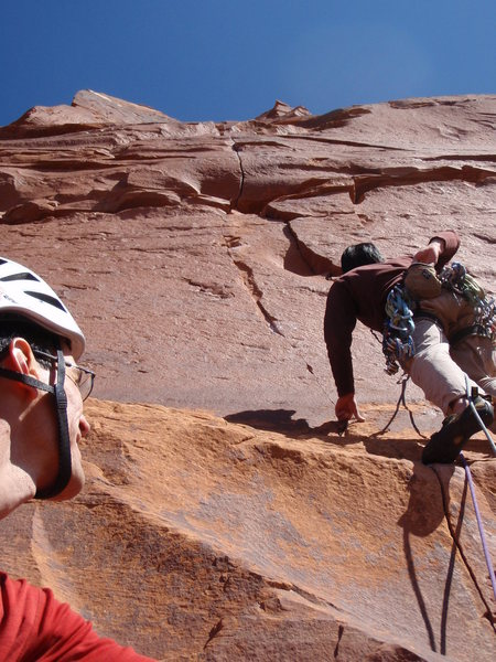 Rock Climbing Photo: Ian setting off on P2.  He rocked the crux on P2, ...