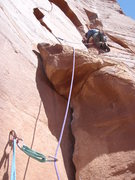 Rock Climbing Photo: Rob setting off on P3.  Too bad we couldn't see hi...