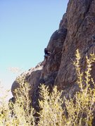 Rock Climbing Photo: Seth just finishing the crux of Three Giant Steps