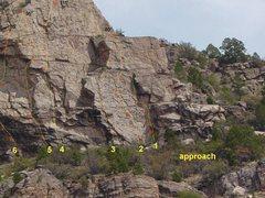 Rock Climbing Photo: Topo & orientation photo - Upper Mighty Mouse Crag...