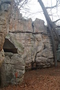 Rock Climbing Photo: The start of Lip Service is visible right above th...