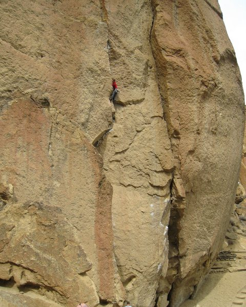 Rock Climbing Photo: John high on the killer crack testpiece of Wartley...