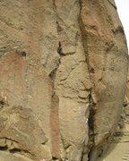 Rock Climbing Photo: John high on the killer crack testpiece of Wartley...