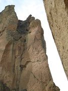 Rock Climbing Photo: Beginning the traverse on the final pitch of Sky R...