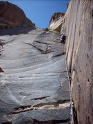 Rock Climbing Photo: Jed leads the crux dihedral