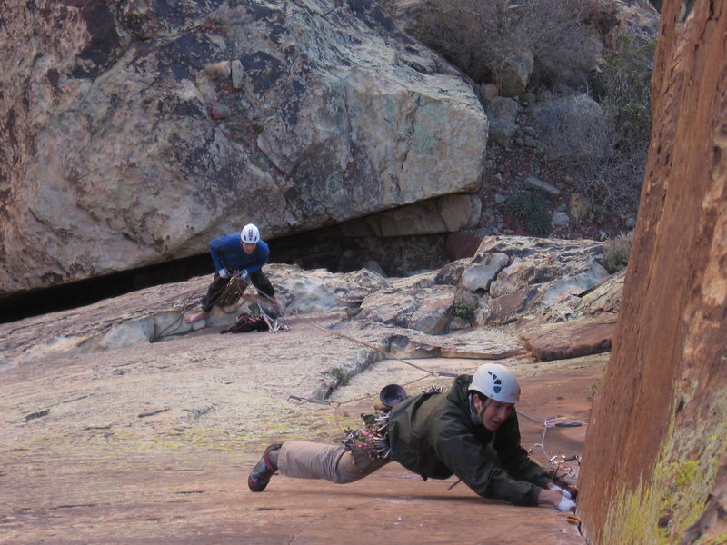 Rock Climbing Photo: Jake leads the crux Dihedral (12-) with Ben at the...