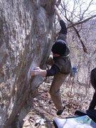 Rock Climbing Photo: Dobbe squeezing hard. Photo: T. Melin