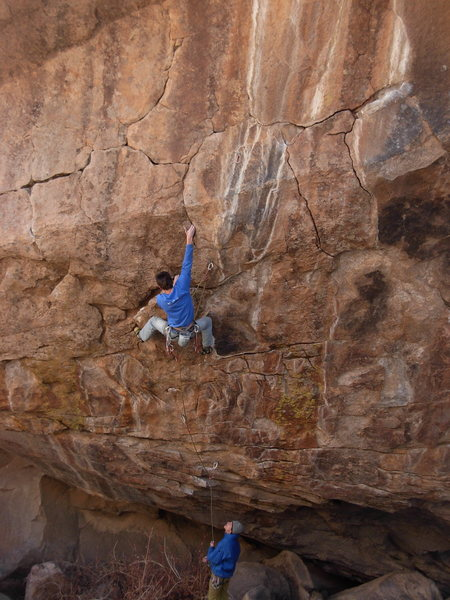 Rock Climbing Photo: Fully loaded pinky jam. This starts the long crux.