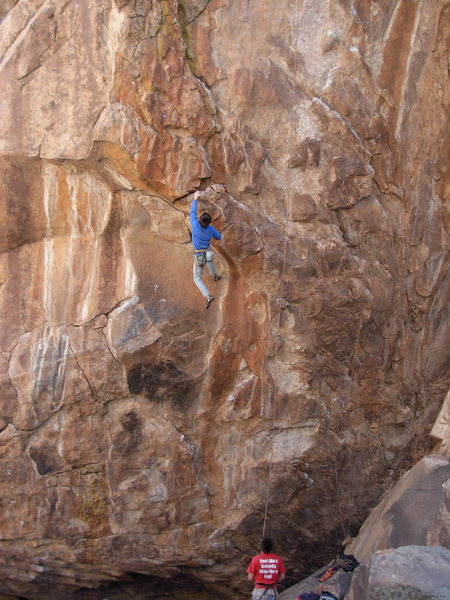 End of the long crux.