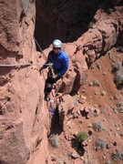 Rock Climbing Photo: Wendy lowering out on the penji on p2.