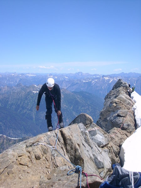 On the summit ridge of Dome Peak (N. Cascades)