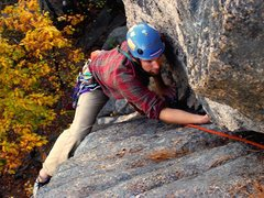 Rock Climbing Photo: Black Lung upper pitch, Cathedral Ledge