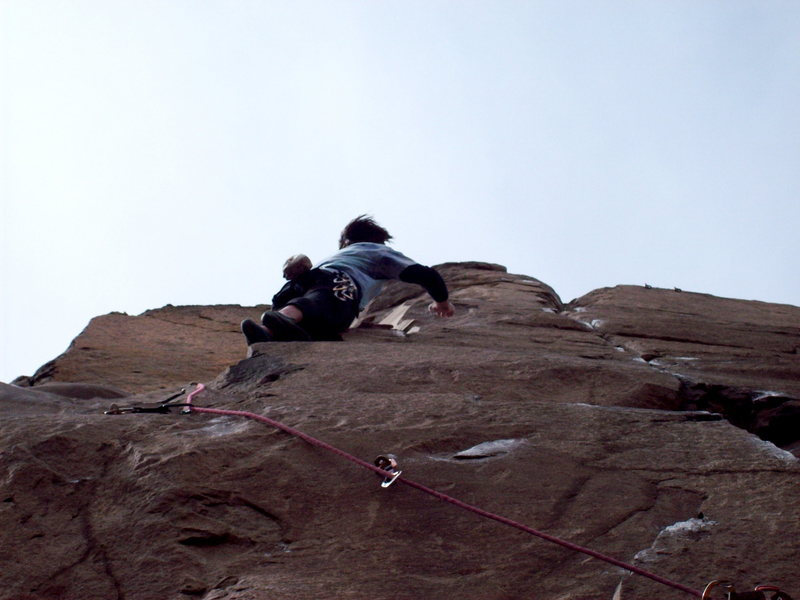 Rock Climbing Photo: BH on FA of Mountain Lion, 5.11b.