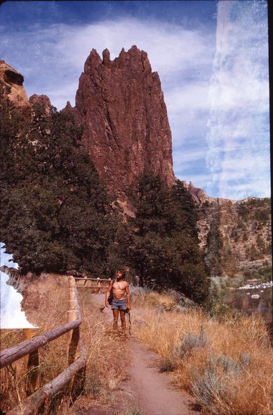 Rock Climbing Photo: Smith Rocks double exposure - Mike Dean 1978
