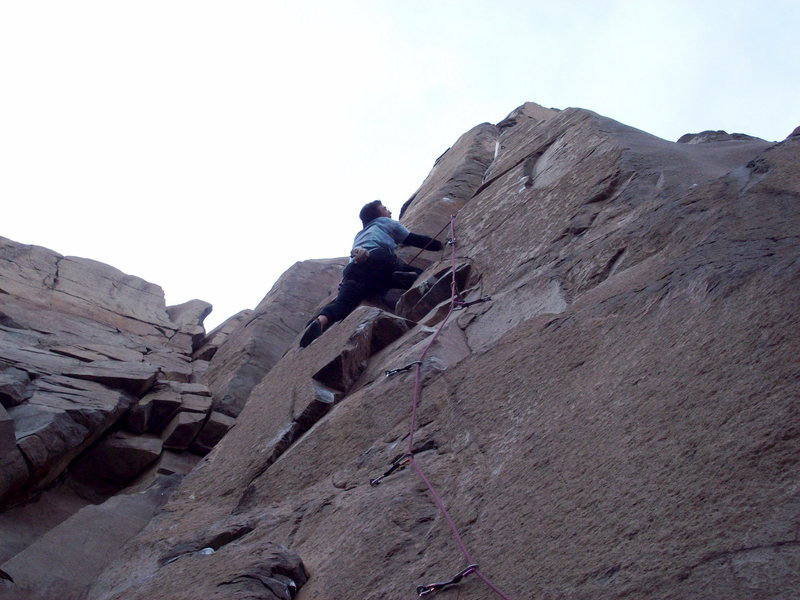 Approaching the steep dihedral section on Misty 5.11d. Crater Crag.