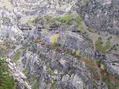 Rock Climbing Photo: Yellow Lines= Routes Red Lines= Trails Blue Lines=...
