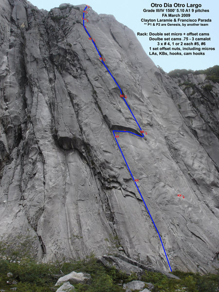 Topo of Otro Dia Otro Largo.  Two notes.  1. the first two pitches were previously established by Ben Deering and others as Genesis.  2.  Be CAREFUL on the rap from the right side of the roof.  it is a FULL 60 meters!