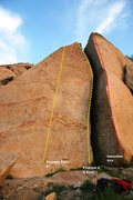 Rock Climbing Photo: Triangle Boulders Middle Left Topo