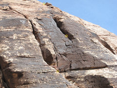 Rock Climbing Photo: Upper pitches. Belays 3, 4, and 5 marked.