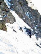 Rock Climbing Photo: Greg begining the initial lead of P1 after scrambl...