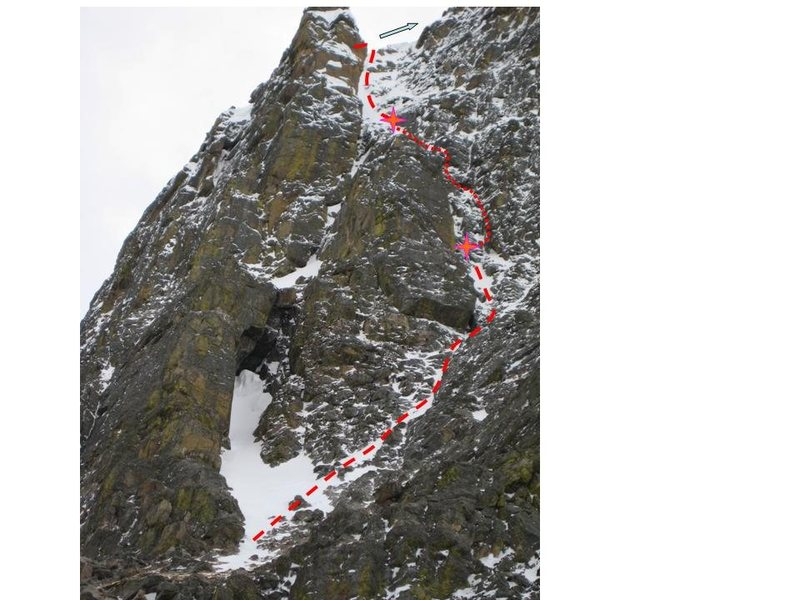 Rock Climbing Photo: Route showing P1, 2, 3.