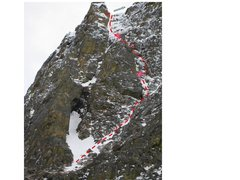 Rock Climbing Photo: Route showing P1, 2, 3.