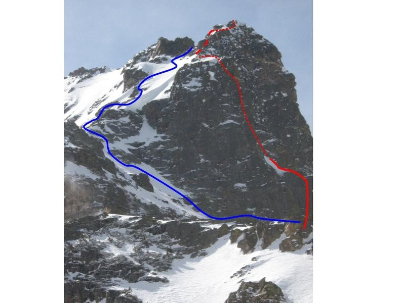 Red line is the route, blue line is the descent we took.