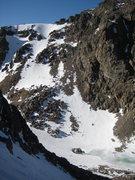 Rock Climbing Photo: Andrews Tarn Lake below the route, and western Oti...