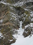 Rock Climbing Photo: The route follows WI3 into the big dihedral, then ...