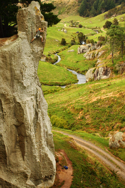 Rock Climbing Photo: Danny moving onto the final headwall on Terror Inc...