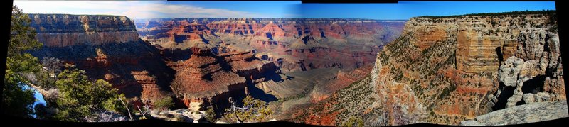 Panoramic from along the rim trail to the east of Grand Canyon Village.  March '09.