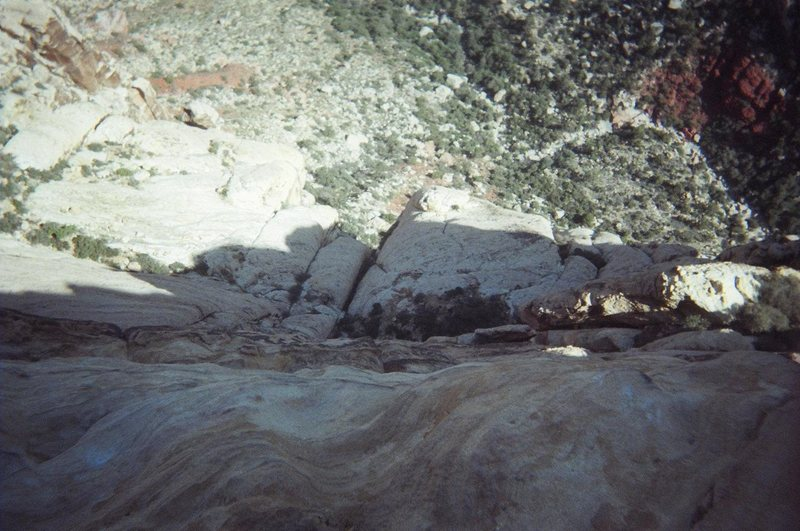 Rock Climbing Photo: Looking down on the start of solar slab from the t...