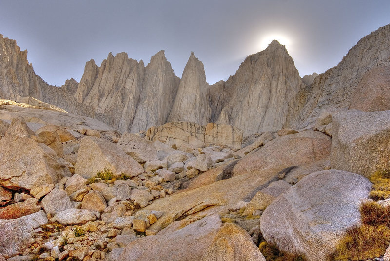 Sun setting behind Mt. Whitney from the approach to Iceberg lake.