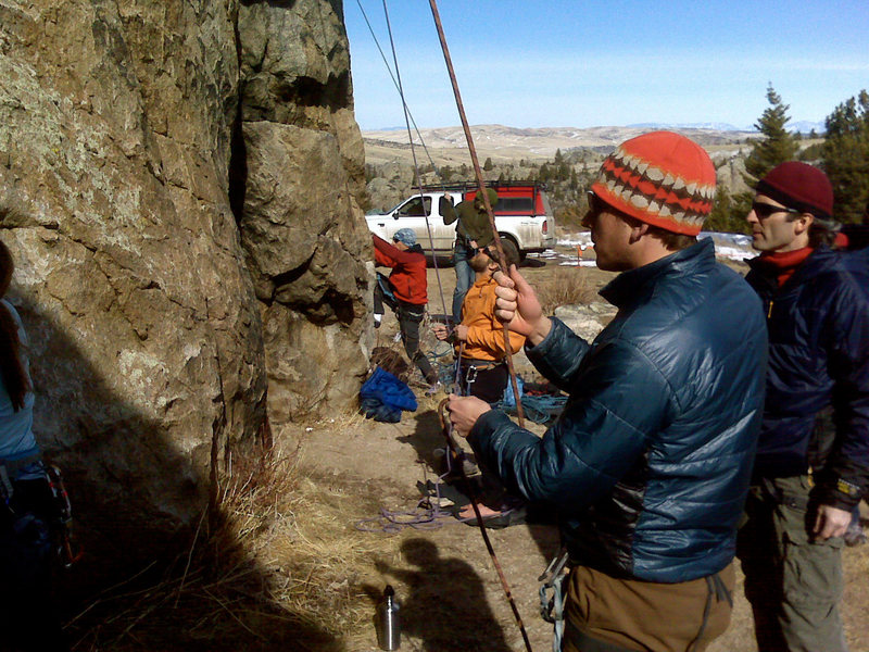 Belaying a series of sport routes in January.