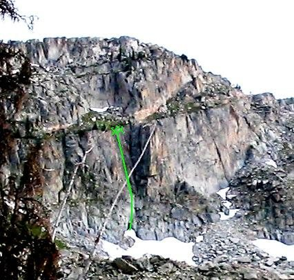 The green line is a rough desciption of where the climb is. The x's represent the anchors. Although hard to see in the photo the line is roughly 180+ ft.