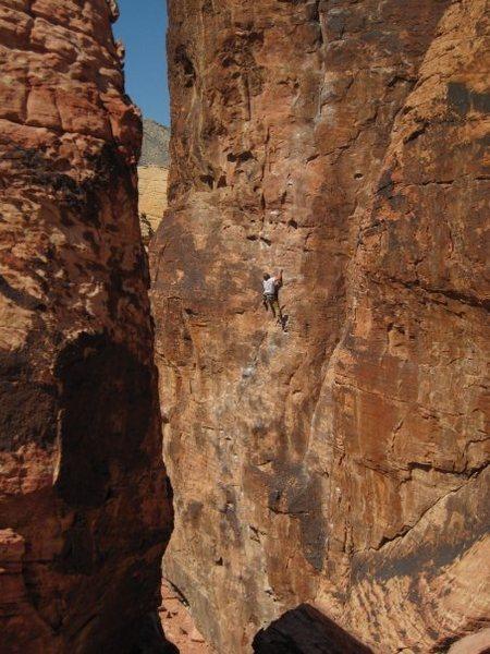 Rock Climbing Photo: Ryan on mr choads wild ride 11b 105 feet long !!!!...