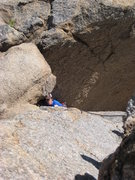 Rock Climbing Photo: My first free climbing route on Pinnacle Peak.