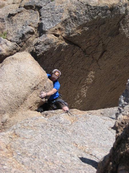 Climbing Pinnacle Peak's summit crack. Felt A LOT harder than a 5.3!!!