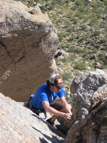 First freeclimb outside on Pinnacle Peak. Notice there's no smile (yet).