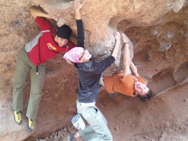 Nothing like hanging off the testicle with good friends. Bouldering with REI friends Laura and Rob.