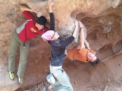 Rock Climbing Photo: Nothing like hanging off the testicle with good fr...