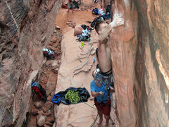 Rock Climbing Photo: throwing the only difficult move of the climb--fro...