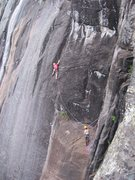 Rock Climbing Photo: Climbers on Moonshine, an impressive 5.10 at Poke-...