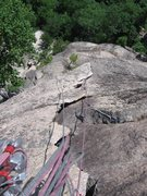 Rock Climbing Photo: Looking down the flake on the Beast Flake pitch, R...