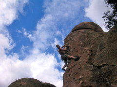 Rock Climbing Photo: Me leading Captain America in Penitente Canyon.