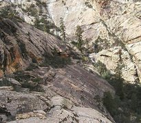 Rock Climbing Photo: Possible descent/escape route follows the Crow's N...